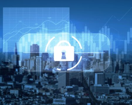 Abstract digital padlock button on city background. Internetconcept. Double exposure Stock Photo