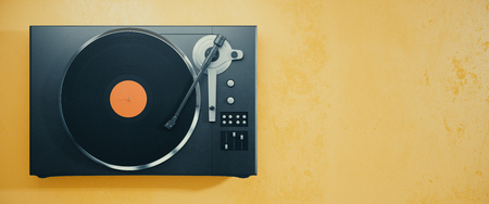 Turntable vinyl record player. Retro audio equipment for disc jockey. Sound technology for DJ to mix & play music. Orange background with copy space. 3D Rendering