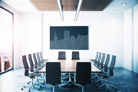 Modern meeting room with abstract circuit city image on black board, equipment and window view. Conceptual innovation concept. 3D Rendering Фото со стока