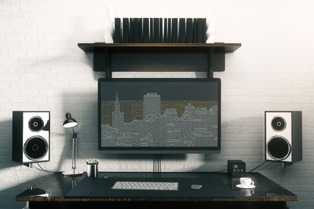 Close up of creative designer desktop with motherboard city on computer screen, coffee cup, speakers and other items on white brick wall background. Internet concept. 3D Rendering