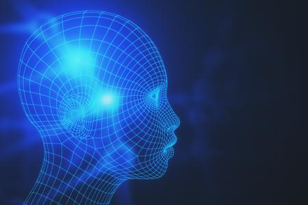 흐린 배경에 추상 메쉬 머리의 측면보기. 로봇 개념입니다. 3D 렌더링
