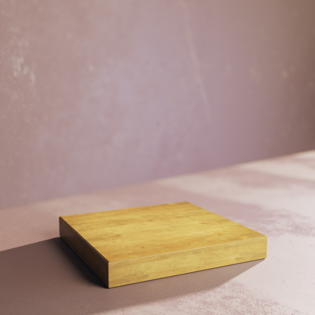 Side view of empty wooden plank on concrete background. Presentation concept. Mock up, 3D Rendering