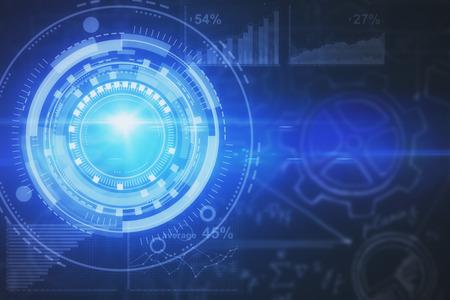 Circulair digitaal bedrijfsscherm op onscherpe donkere achtergrond. Technologie en toekomstig concept. 3D-weergave