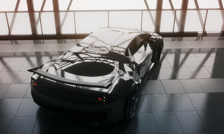 Expensive concept. Modern stylish black sports car in loft warehouse garage interior with tile floor, window frame and sunlight. 3D Rendering Reklamní fotografie