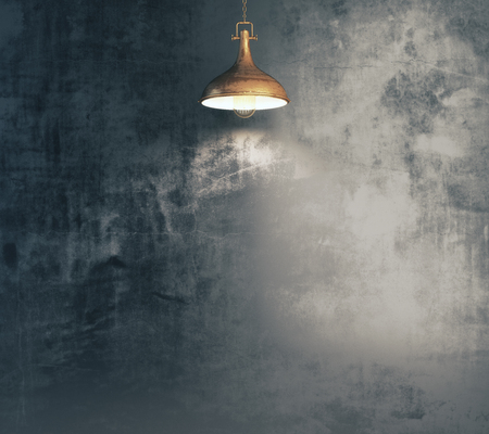 Empty grunge wall illuminated with lamp. Advert, gallery, presentation concept. 3D Rendering
