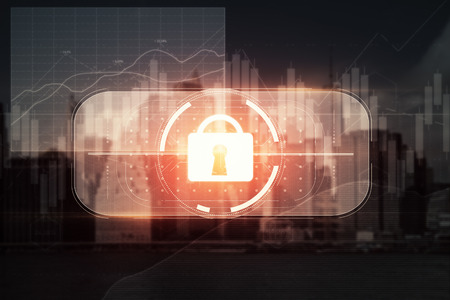 Abstract digital padlock button on city background. Information concept. Double exposure