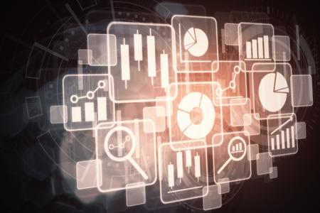 Zijaanzicht van abstracte gloeiende digitale interface onblack achtergrond. Infograph-concept. 3D-weergave
