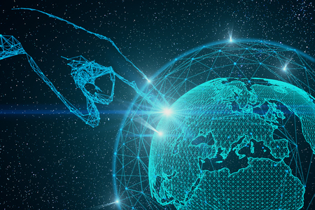 ball point: Abstract polygonal hand pointing at digital globe interface in space. Global business concept. 3D Rendering