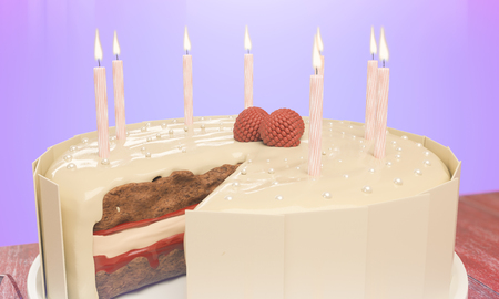 Close up of delicious birthday cake with candles on purple background. Celebration concept. 3D Rendering Banco de Imagens