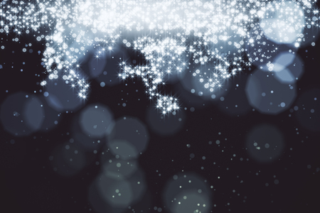 Abstract sparkling silver backdrop with blurry bokeh dots and spotlight. Celebration, holiday, destive concept Stock Photo