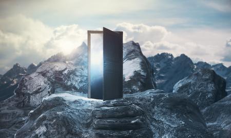 Bergstappen die tot abstracte open deur met mening over hemelachtergrond leiden. Promotie concept. 3D-weergave