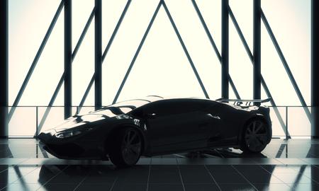 경주 개념입니다. 타일 바닥, 창 프레임 및 햇빛을 가진 로프트웨어 하우스 차고 인테리어에 현대 세련 된 검은 스포츠카. 3D 렌더링