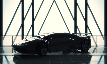 Race concept. Modern stylish black sports car in loft warehouse garage interior with tile floor, window frame and sunlight. 3D Rendering