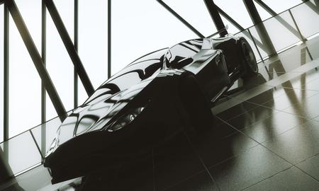 마력 개념입니다. 타일 바닥, 창 프레임 및 햇빛을 가진 로프트웨어 하우스 차고 인테리어에 현대 세련 된 검은 스포츠카. 3D 렌더링 스톡 콘텐츠 - 87771704