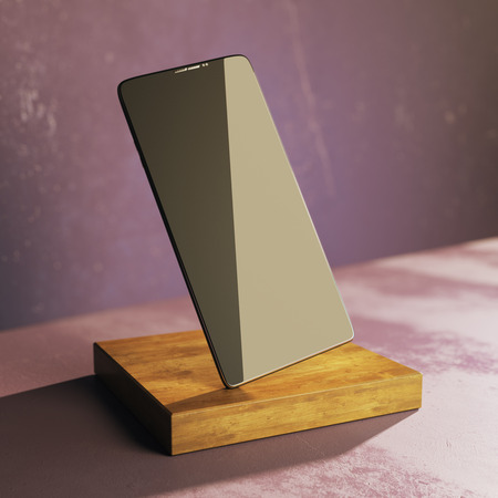 Empty mobile phone on wooden plank and concrete background. Presentation, advertisement concept. Mock up, 3D Rendering Stock Photo