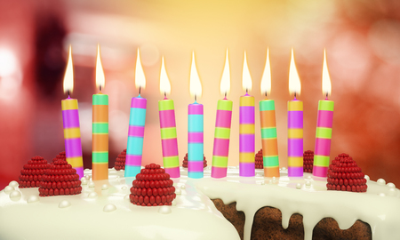 Close up of delicious birthday cake with candles on blurry background. Anniversary concept. 3D Rendering