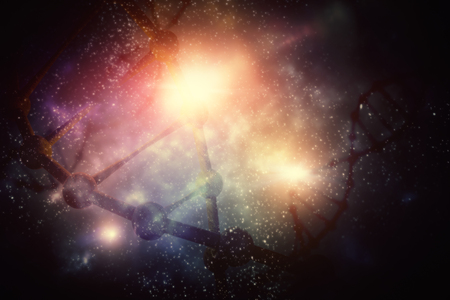 Abstraktes glühendes Raum-DNA-backgrond. Medizin und Innovation. Doppelbelichtung Standard-Bild - 87771730
