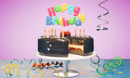 Delicious birthday cake with candles on pink background. Celebration concept. 3D Rendering