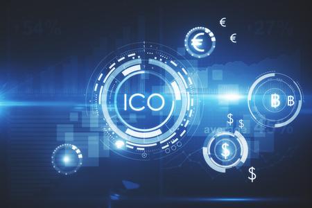 추상 빛나는 디지털 통화 단추 가상 디지털 전자 사용자 인터페이스에 제공하는 ICO 초기 동전. 혁신 개념입니다. 3D 렌더링 스톡 콘텐츠