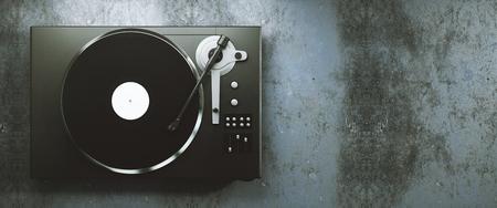 ターン テーブル ビニール レコード プレーヤー。ディスク ジョッキーのレトロなオーディオ機器。DJ ミックス ・音楽を再生するためのサウンド テ