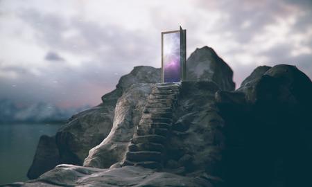 Bergstappen die tot abstracte open deur met mening over hemelachtergrond leiden. Leiderschap concept. 3D-weergave