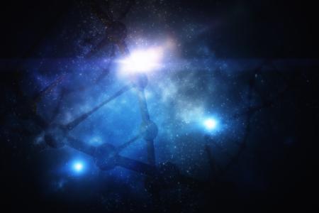 Abstraktes glühendes Raum-DNA-backgrond. Medizin und Leben. Doppelbelichtung Standard-Bild - 87751276