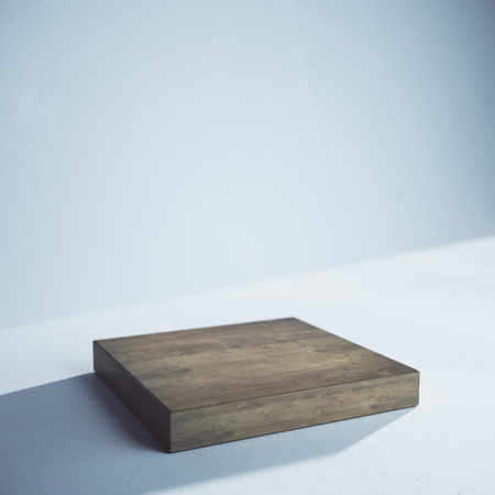 Side view of empty wooden board on concrete background. Presentation concept. Mock up, 3D Rendering