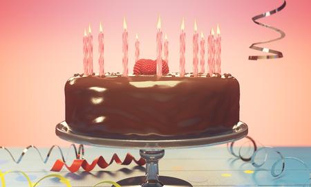 ピンクの背景の上のろうそくで美味しい誕生日ケーキ。お祝いのコンセプトです。3 D レンダリング 写真素材