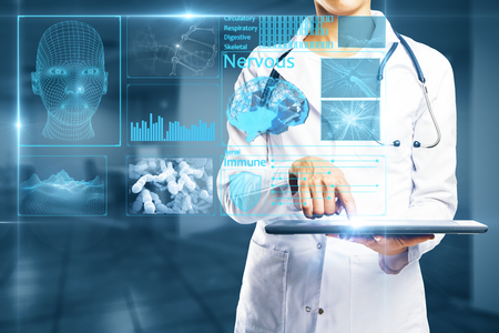 Young female doctor using tablet with abstract digital screen hologram. Medicine concept. 3D Rendering