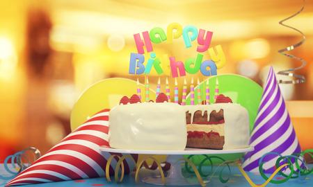キャンドル、帽子、ぼやけて背景に風船と美味しいバースデー ケーキ。音声: 概念。3 D レンダリング 写真素材