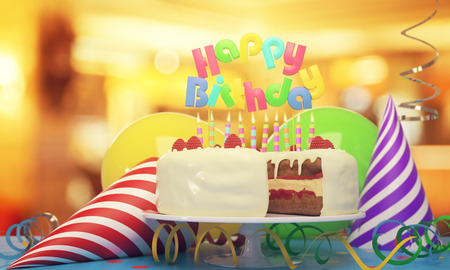 Delicious birthday cake with candles, hats and balloons on blurry background. Sweer concept. 3D Rendering