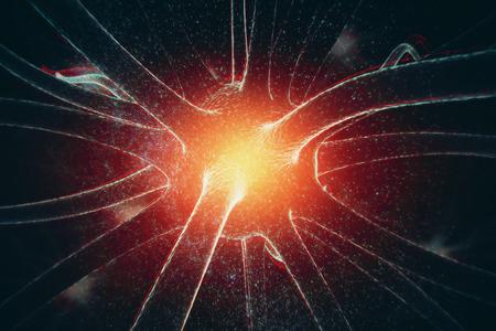 Abstracte gloeiende neuron op ruimteachtergrond. Geneeskunde concept. 3D-weergave
