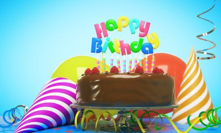 キャンドル、帽子、青色の背景色の風船と美味しいバースデー ケーキ。お祝いのコンセプトです。3 D レンダリング