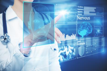 女性医師の手が光るデジタル intefac のボタンを押します。近未来的なコンセプト。3 D レンダリング