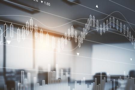 Abstract onscherp bureaubinnenland met forex grafiek. Economie concept. Dubbele blootstelling. Getinte afbeelding