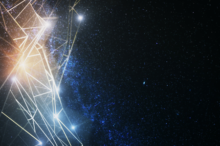 Abstract glowing polygonal network on space background. Future concept. 3D Rendering Stock Photo