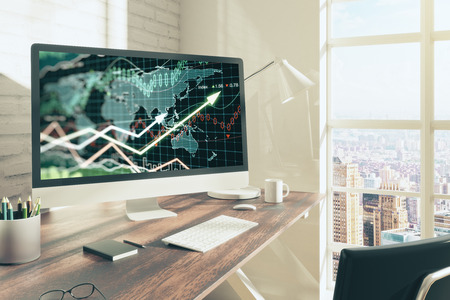 Office desktop with forex chart on computer screen, coffee and other items. Brick wall background and city view. Accounting concept. 3D Rendering