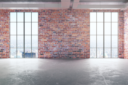 コンクリートの床と空の赤レンガ内部・ シティー ビューと日光パノラマの窓の正面。不動産の概念。3 D レンダリング 写真素材