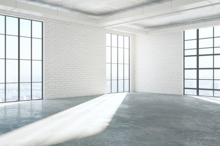 Side view of empty white brick interior with concrete floor and panoramic windows with city view and sunlight. Real estate concept. 3D Rendering
