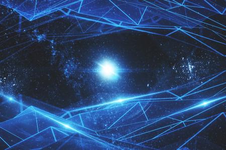 Abstract gloeiend veelhoekig netwerk op ruimteachtergrond. Technologie concept. 3D-weergave Stockfoto