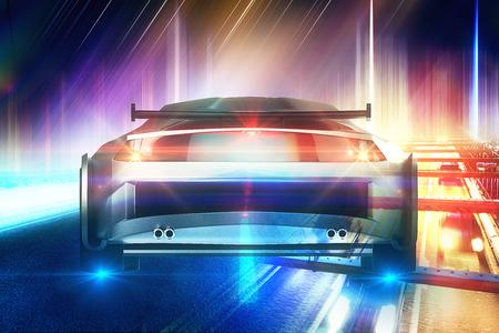Abstraktes undeutliches buntes Bild des Sportautos auf Straße. Creartiver Hintergrund. Doppelbelichtung Standard-Bild - 87926256