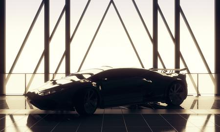 빠른 개념. 타일 바닥, 창 프레임 및 햇빛을 가진 로프트웨어 하우스 차고 인테리어에 현대 세련 된 검은 스포츠카. 3D 렌더링 스톡 콘텐츠 - 87926579