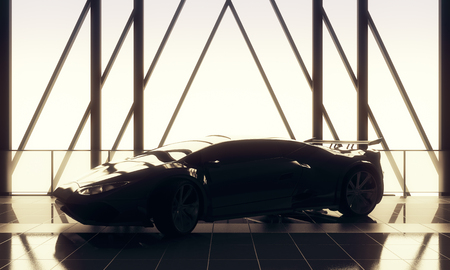Fast concept. Modern stylish black sports car in loft warehouse garage interior with tile floor, window frame and sunlight. 3D Rendering
