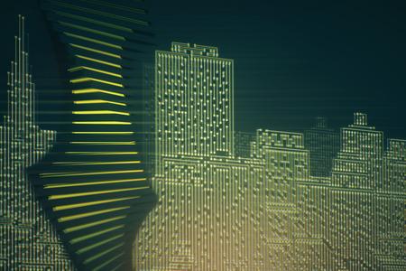 Fondo abstracto de la ciudad de la placa de circuito. Tecnología, conexión, concepto de innovación. Representación 3D
