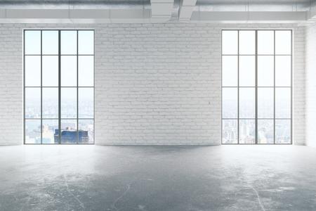 Vooraanzicht van leeg wit baksteenbinnenland met concrete vloer en panoramische vensters met stadsmening en zonlicht. Onroerend goed concept. 3D-weergave