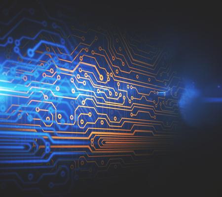 回路基板のバック グラウンドを抽象化します。システムの概念。3 D レンダリング
