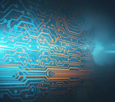 추상 회로 보드 배경입니다. 전자 개념입니다. 3D 렌더링