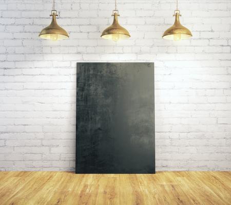 Wit baksteenbinnenland met leeg die aanplakbord met lampen en houten vloer wordt verlicht. Galerij, kader, copyspace, tentoonstellingsconcept. Bespotten, 3D-rendering