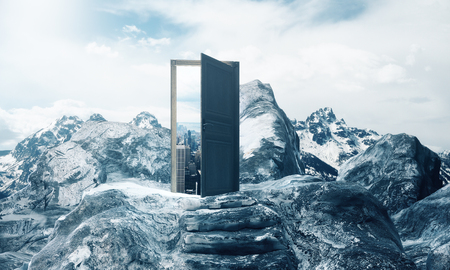 Mountain steps leading to abstract open door with view on sky background. Career concept. 3D Rendering