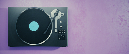 grooves: Turntable vinyl record player. Retro audio equipment for disc jockey. Sound technology for DJ to mix & play music. Purple background with copy space. 3D Rendering